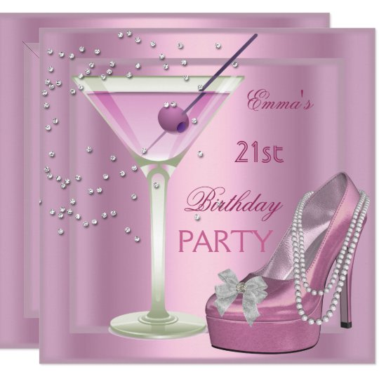 21st Birthday Party Pink Martini High Heel Shoes