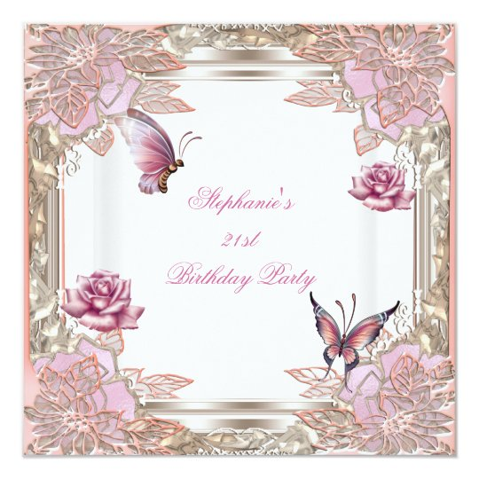 21st Birthday Party Pink Rose White Butterfly Card