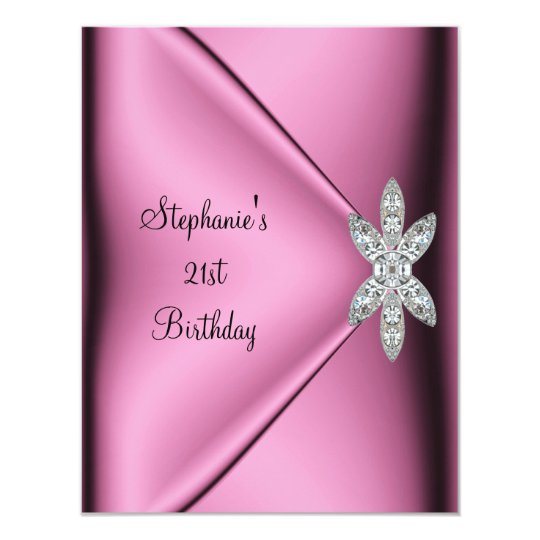 21st Birthday Party Pink Silk Diamond Jewel Card