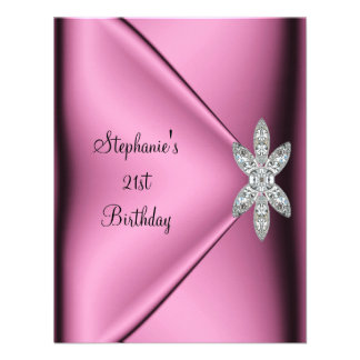 21st Birthday Party Pink Silk Diamond Jewel Custom Invitation
