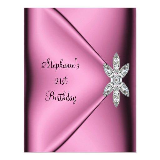 21st Birthday Party Pink Silk Diamond Jewel Custom Announcements