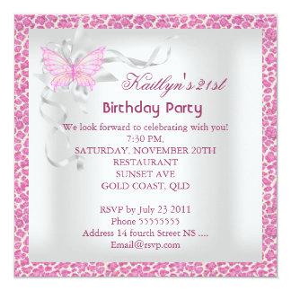 21st Birthday Party Pink White Leopard Butterfly 13 Cm X 13 Cm Square Invitation Card