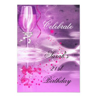 21st Birthday Party Purple Champagne Glass Bow 13 Cm X 18 Cm Invitation Card