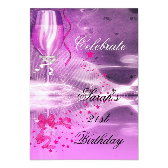 21st Birthday Party Purple Champagne Glass Bow Card
