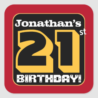 21st Birthday Party Red Black Gold Add Name A15 Square Sticker