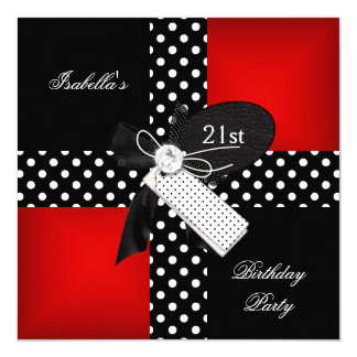 21st Birthday Party Red Polka Dot Black White 13 Cm X 13 Cm Square Invitation Card