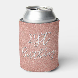 21st Birthday Party Rose Gold Blush Pink Glitter Can Cooler