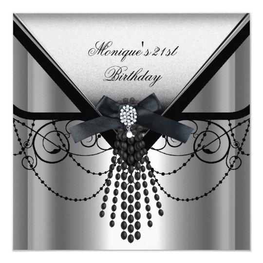 21st Birthday Party Silver Black Diamond Bow Card