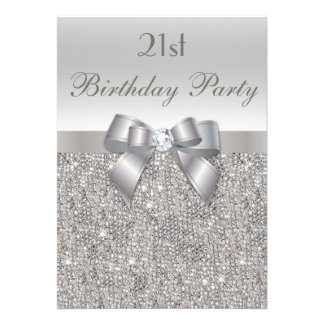 21st Birthday Party Silver Sequins, Bow & Diamond Custom Invitation