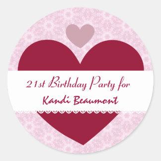 21st Birthday Party Sticker Hearts Custom Name R21