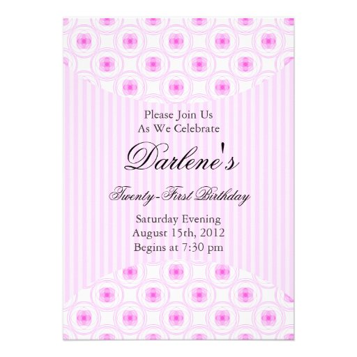 21st Birthday Party Sweet Pink Invitations