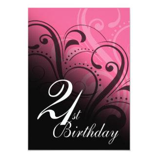 21st Birthday Party Swirl Card