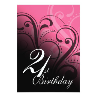 21st Birthday Party Swirl 5x7 Paper Invitation Card