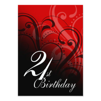21st Birthday Party Swirl Personalized Invites