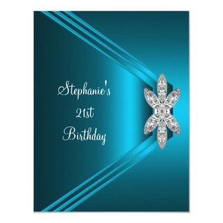21st Birthday Party Teal Blue Silk Diamond Jewel Card