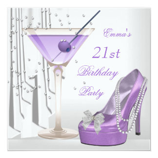 21st Birthday Party White Lilac Martini Pearl Shoe 5.25x5.25 Square Paper Invitation Card
