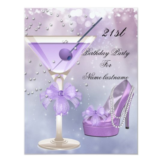 21st Birthday Party White Lilac Martini Purple Card