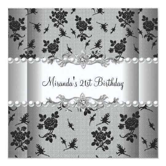 21st Birthday Party White Pearl Black Lace Card