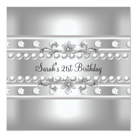 21st Birthday Party White Pearl Diamond Silver Card
