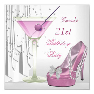 21st Birthday Party White Pink Martini Pearl Shoe 13 Cm X 13 Cm Square Invitation Card