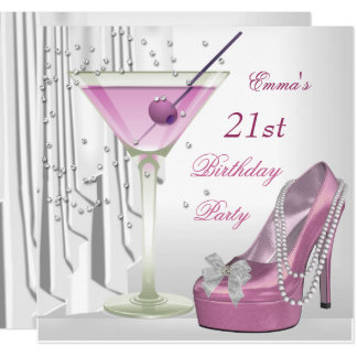 21st Birthday Party White Pink Martini Pearl Shoe Card