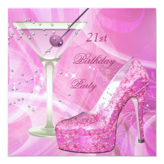 21st Birthday Party White Pink Martini Shoe Card