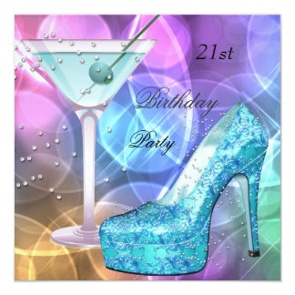 21st Birthday Party White Pink Teal Martini Shoe 13 Cm X 13 Cm Square Invitation Card