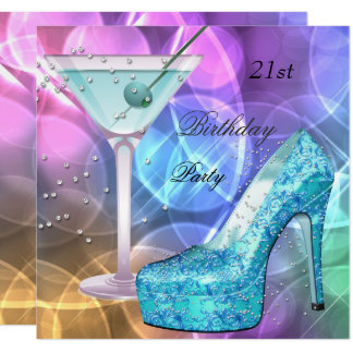 21st Birthday Party White Pink Teal Martini Shoe Card
