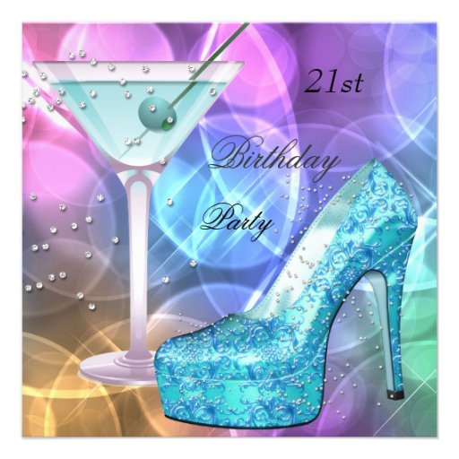 21st Birthday Party White Pink Teal Martini Shoe Personalized Invites