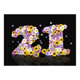 21st Birthday party, with flowered letters Custom Invitation