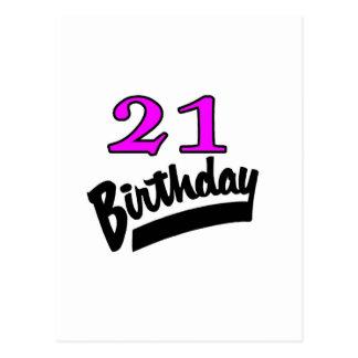 21st Birthday Pink And Black Postcard