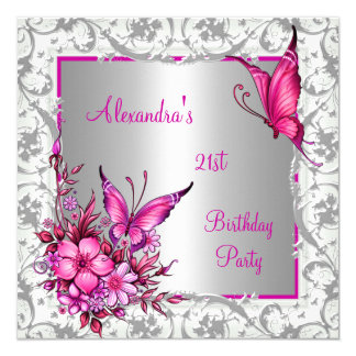 21st Birthday Pink Floral Butterfly Silver White Card