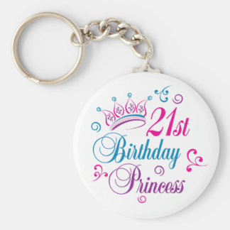 21st Birthday Princess Basic Round Button Key Ring
