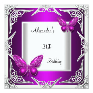 21st Birthday Purple Butterfly Silver White 13 Cm X 13 Cm Square Invitation Card