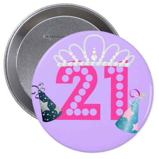 21st Birthday Purple Princess Buttons