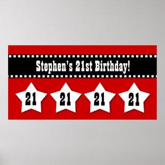 21st Birthday Red Black White Stars Banner V21S Poster