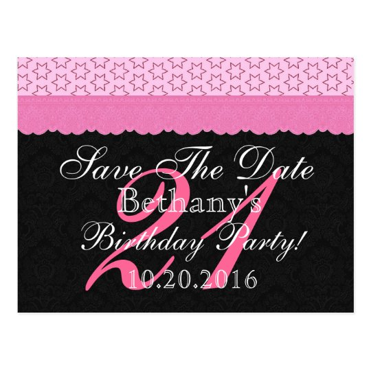 21st Birthday Save the Date Pink and Black