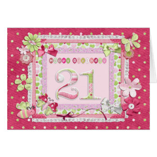 21st birthday scrapbooking style greeting card