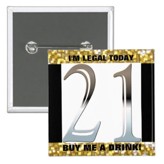 21st Birthday Silver Number 21 15 Cm Square Badge