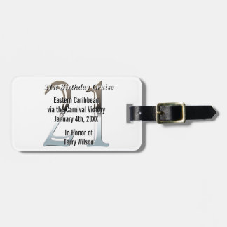 21st Birthday Silver Number 21 Luggage Tag