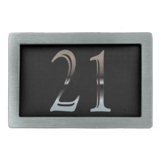 21st Birthday Silver Number 21 Rectangular Belt Buckle
