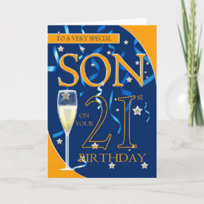 21st Birthday Son - Champagne Glass Card