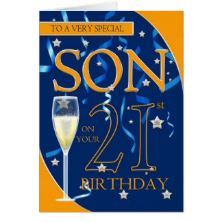 21st Birthday Son - Champagne Glass Cards