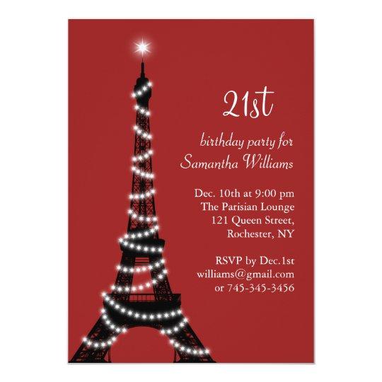 21st Birthday Sparkling Eiffel Tower Invitation