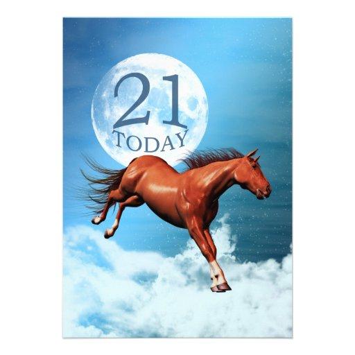 21st birthday Spirit horse party invitation