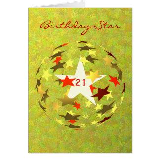 21st Birthday Star add Photograph Greeting Card
