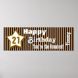 21st Birthday Star Banner Custom B05A GOLD Poster