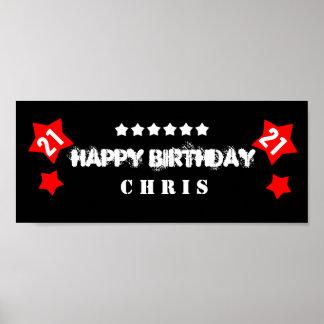 21st Birthday Star Banner Custom Name V21S STARS Poster