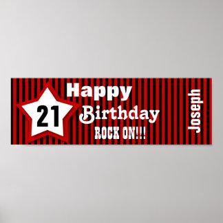 21st Birthday Star Banner Custom Z08H Poster