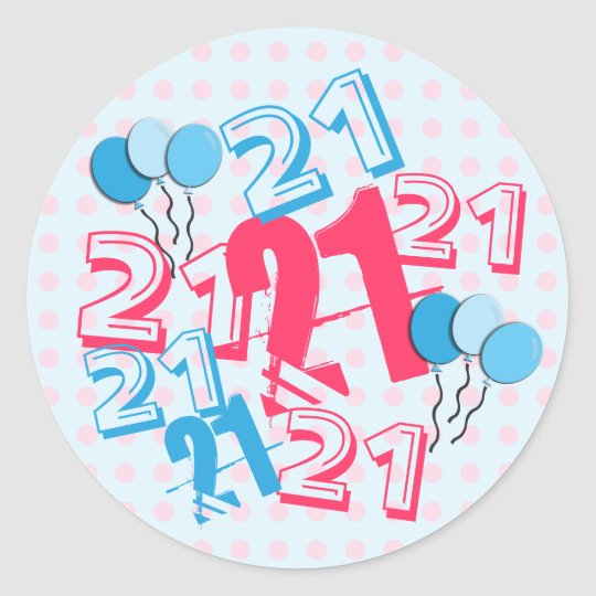 21st Birthday Stickers Pink Dots